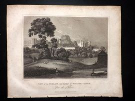 Clarke C1820 Antique Print. View of the Terrace and keep of Windsor Castle